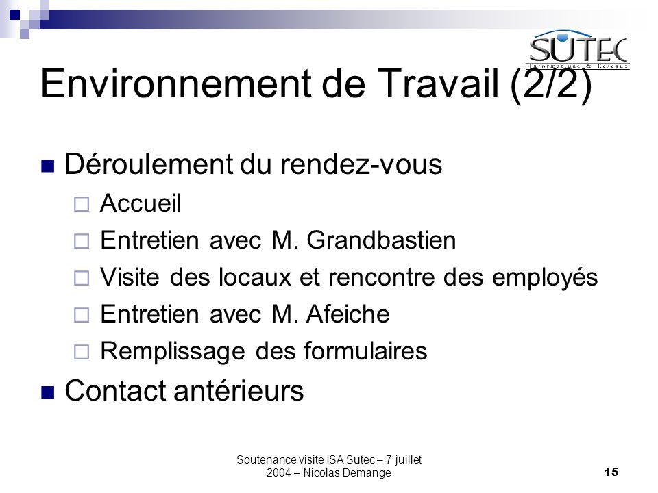 Soutenance visite ISA Sutec – 7 juillet 2004 – Nicolas Demange15 Environnement de Travail (2/2) Déroulement du rendez-vous  Accueil  Entretien avec
