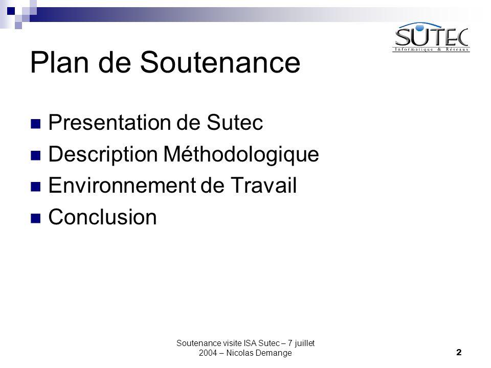 Soutenance visite ISA Sutec – 7 juillet 2004 – Nicolas Demange2 Plan de Soutenance Presentation de Sutec Description Méthodologique Environnement de Travail Conclusion
