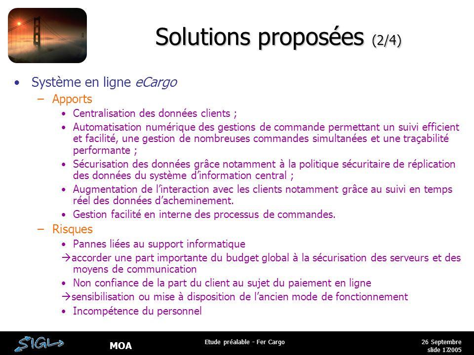 MOA 26 Septembre 2005 Etude préalable - Fer Cargo slide 17 Solutions proposées (2/4) Système en ligne eCargo –Apports Centralisation des données clien