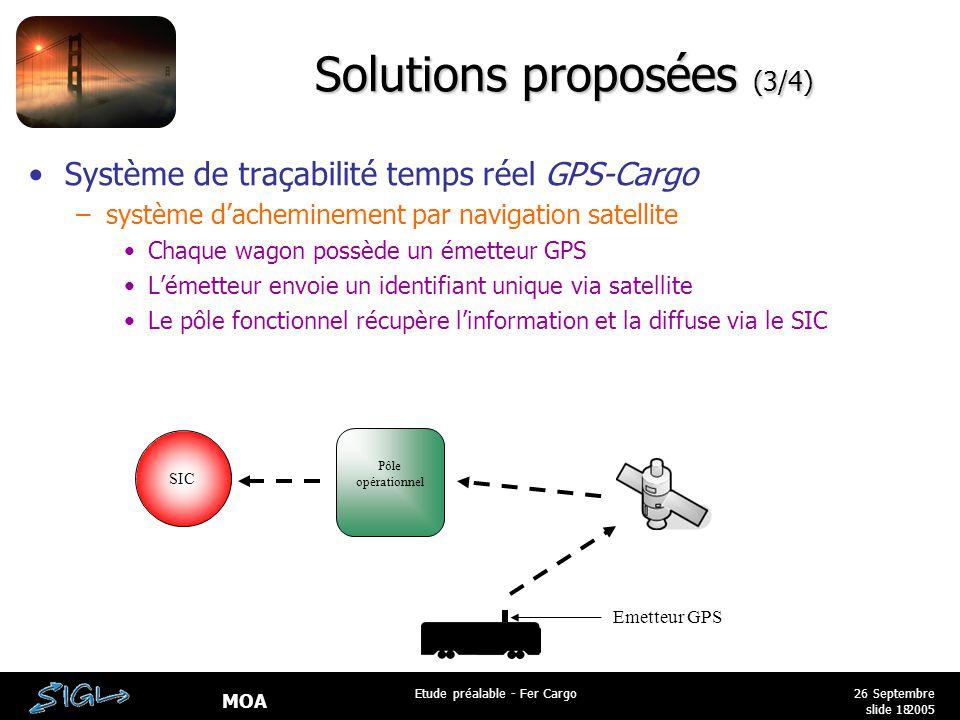 MOA 26 Septembre 2005 Etude préalable - Fer Cargo slide 18 Solutions proposées (3/4) Système de traçabilité temps réel GPS-Cargo –système d'acheminement par navigation satellite Chaque wagon possède un émetteur GPS L'émetteur envoie un identifiant unique via satellite Le pôle fonctionnel récupère l'information et la diffuse via le SIC Emetteur GPS SIC Pôle opérationnel