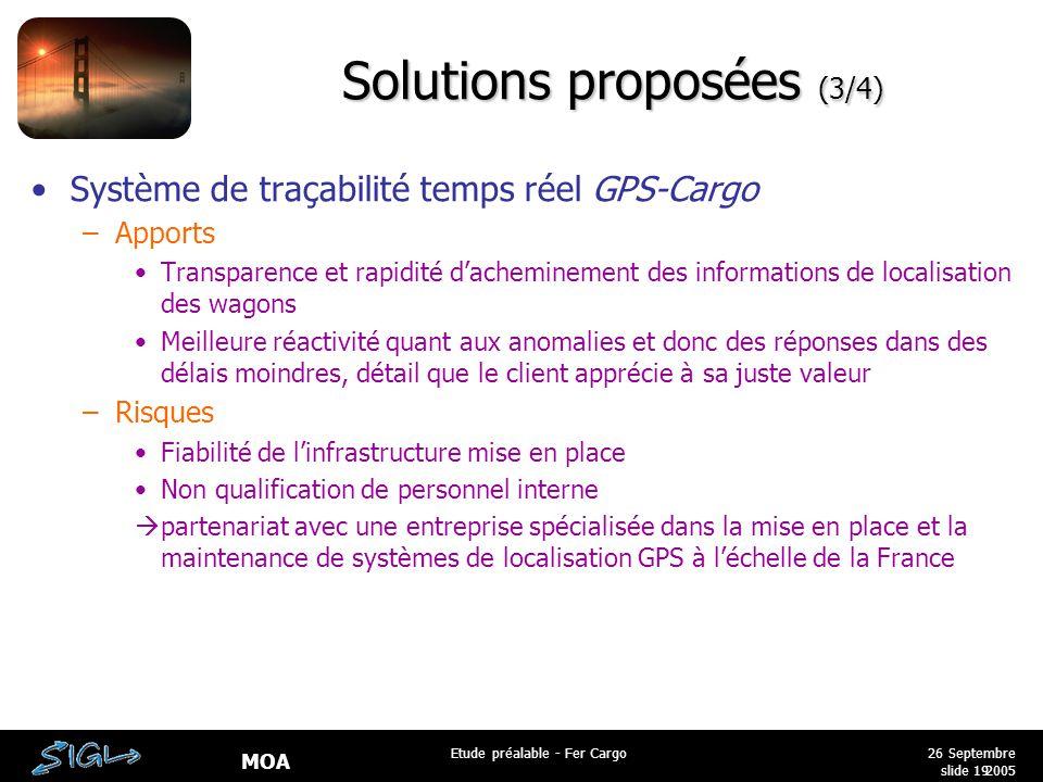 MOA 26 Septembre 2005 Etude préalable - Fer Cargo slide 19 Solutions proposées (3/4) Système de traçabilité temps réel GPS-Cargo –Apports Transparence