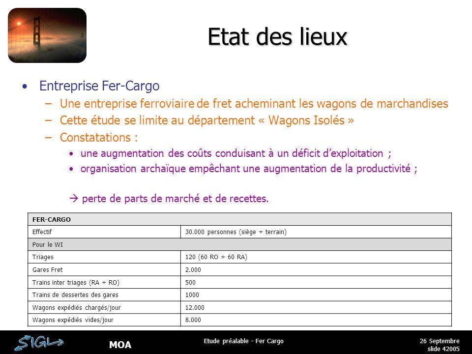 MOA 26 Septembre 2005 Etude préalable - Fer Cargo slide 4 Etat des lieux Entreprise Fer-Cargo –Une entreprise ferroviaire de fret acheminant les wagon
