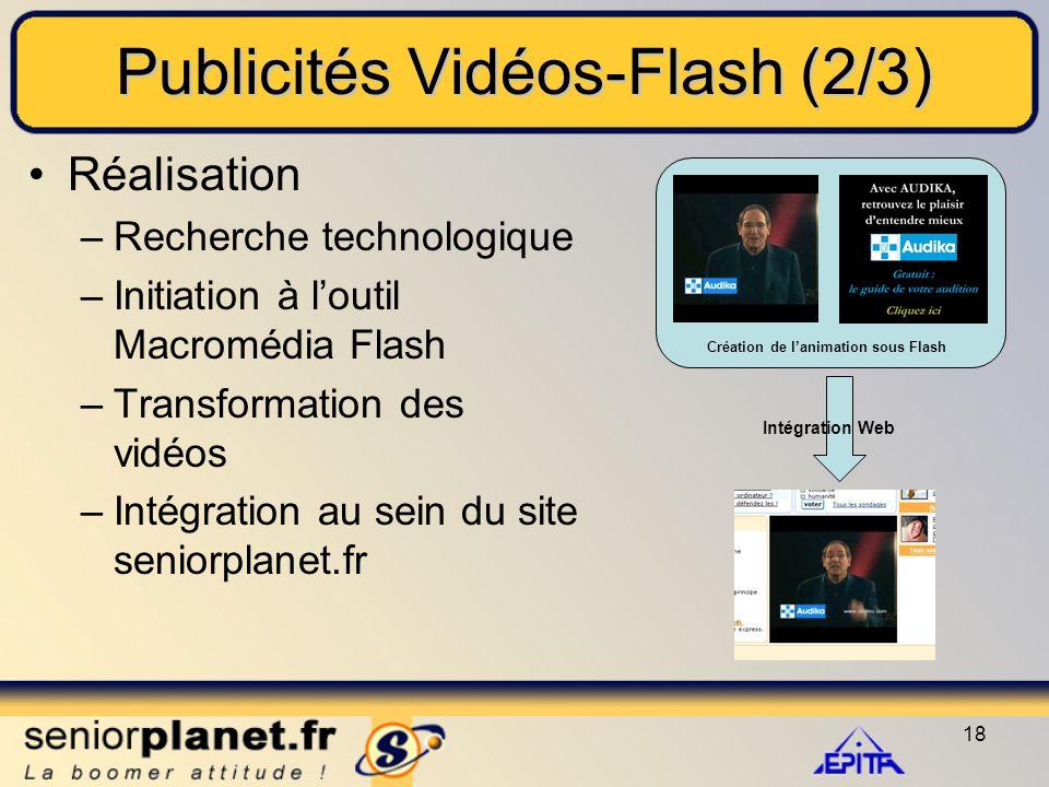 18 Publicités Vidéos-Flash (2/3) Réalisation –Recherche technologique –Initiation à l'outil Macromédia Flash –Transformation des vidéos –Intégration au sein du site seniorplanet.fr Création de l'animation sous Flash Intégration Web