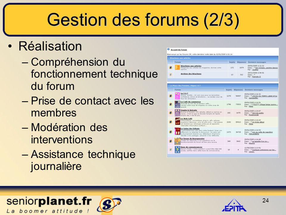 24 Gestion des forums (2/3) Réalisation –Compréhension du fonctionnement technique du forum –Prise de contact avec les membres –Modération des interventions –Assistance technique journalière
