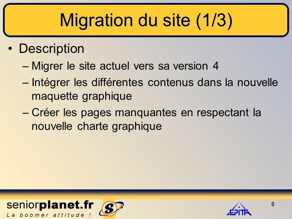 8 Migration du site (1/3) Description –Migrer le site actuel vers sa version 4 –Intégrer les différentes contenus dans la nouvelle maquette graphique –Créer les pages manquantes en respectant la nouvelle charte graphique