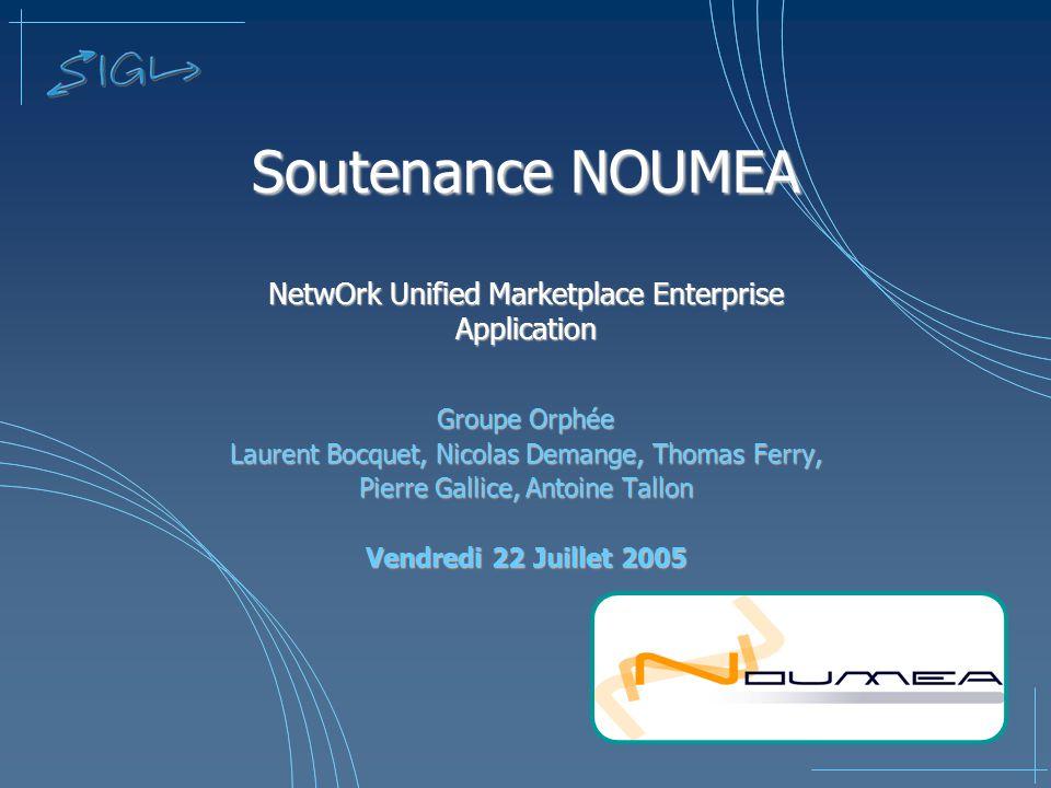 Soutenance NOUMEA NetwOrk Unified Marketplace Enterprise Application Groupe Orphée Laurent Bocquet, Nicolas Demange, Thomas Ferry, Pierre Gallice, Ant