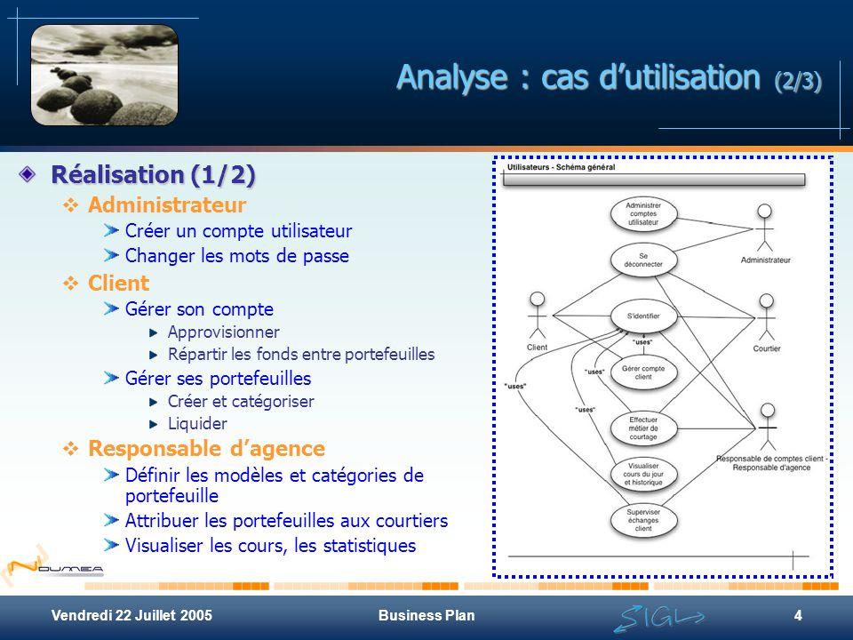 Vendredi 22 Juillet 2005Business Plan4 Analyse : cas d'utilisation (2/3) Réalisation (1/2)  Administrateur Créer un compte utilisateur Changer les mo