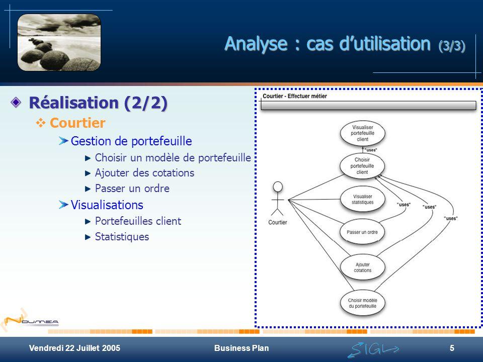 Vendredi 22 Juillet 2005Business Plan5 Analyse : cas d'utilisation (3/3) Réalisation (2/2)  Courtier Gestion de portefeuille Choisir un modèle de por