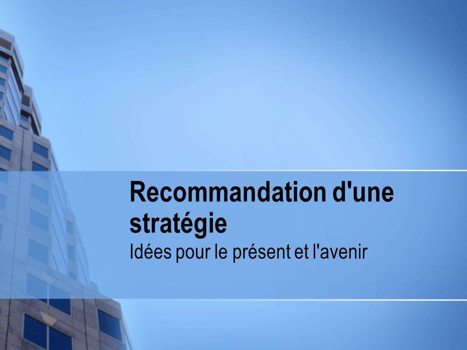 Recommandation d une stratégie Idées pour le présent et l avenir