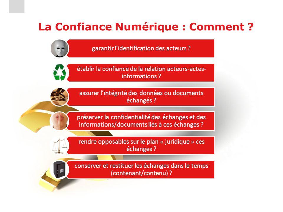 La Confiance Numérique : Comment ? garantir l'identification des acteurs ? établir la confiance de la relation acteurs-actes- informations ? assurer l