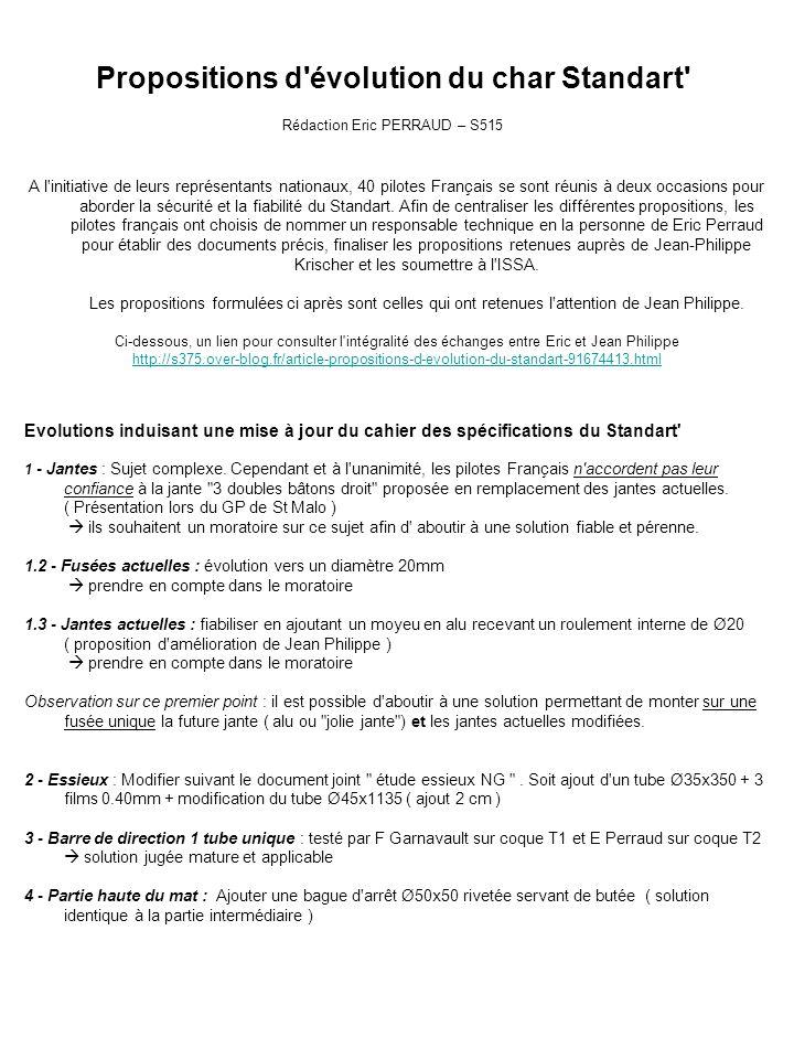 Propositions d évolution du char Standart Rédaction Eric PERRAUD – S515 A l initiative de leurs représentants nationaux, 40 pilotes Français se sont réunis à deux occasions pour aborder la sécurité et la fiabilité du Standart.
