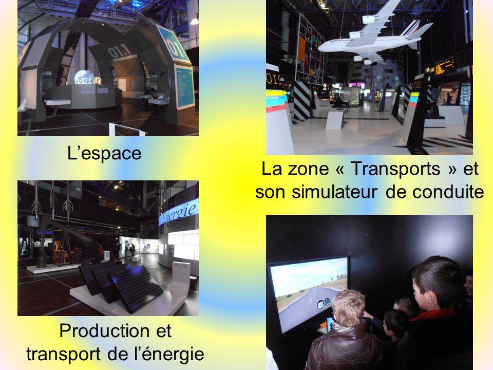 L'espace Production et transport de l'énergie La zone « Transports » et son simulateur de conduite