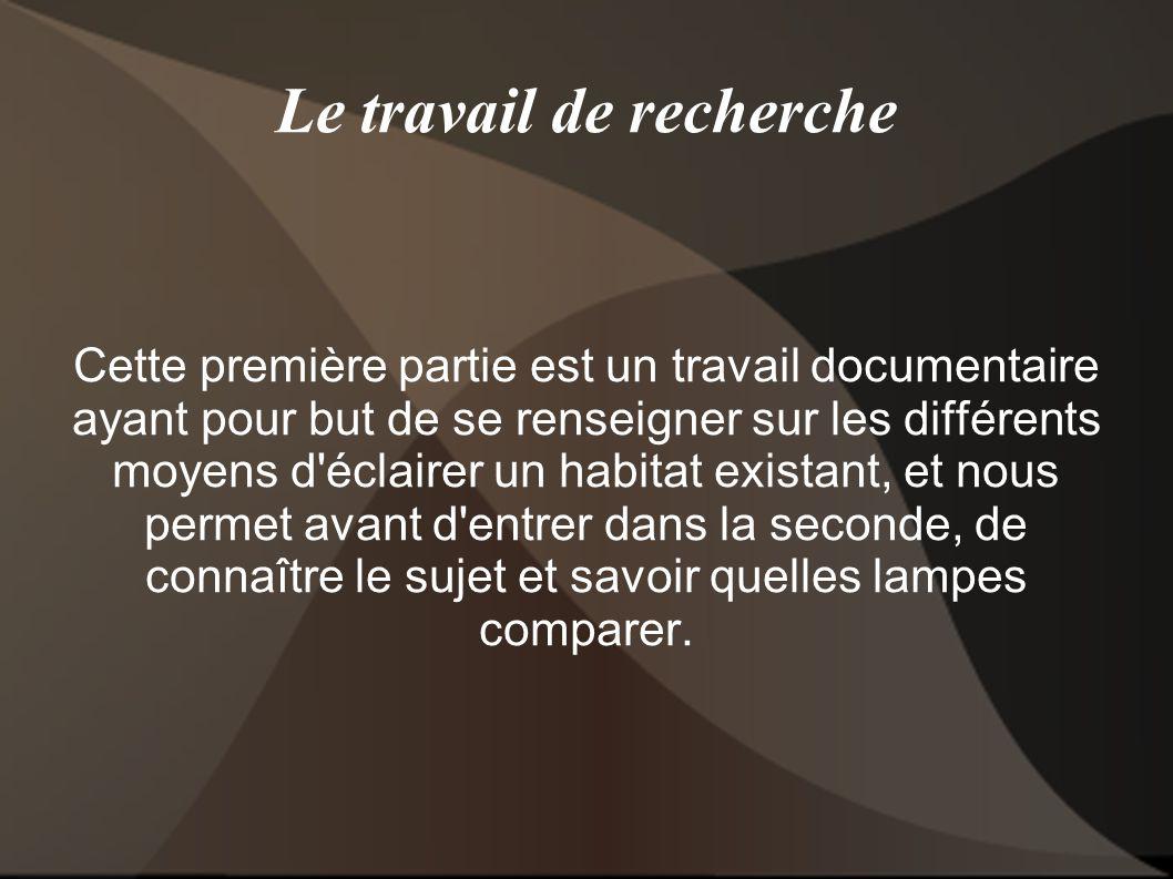 Le travail de recherche Cette première partie est un travail documentaire ayant pour but de se renseigner sur les différents moyens d'éclairer un habi