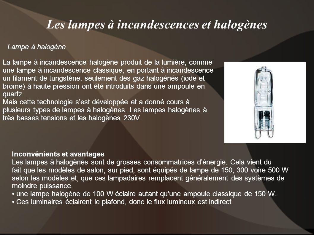 Les lampes à incandescences et halogènes Lampe à halogène La lampe à incandescence halogène produit de la lumière, comme une lampe à incandescence cla