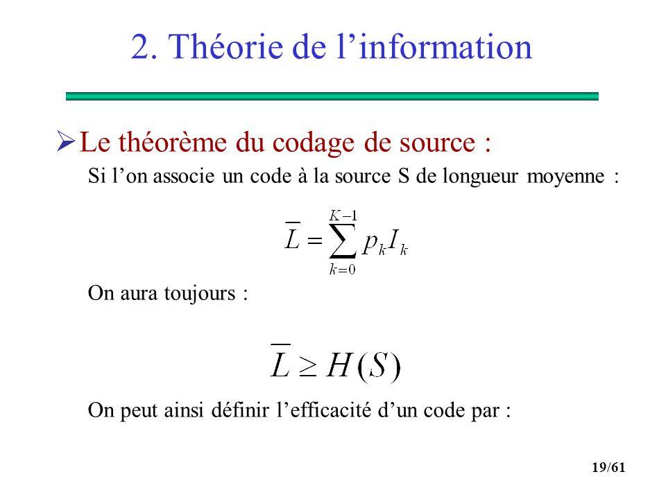 18/61 2. Théorie de l'information  Propriétés : 0  H(S)  log 2 (K) H(S) = 0 si p k = 1 et les autres probabilités sont nulles  aucune incertitude