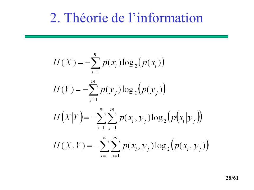27/61 2. Théorie de l'information  Différentes sortes d'entropies :  Si l'on utilise les différentes probabilités à notre disposition on peut défini