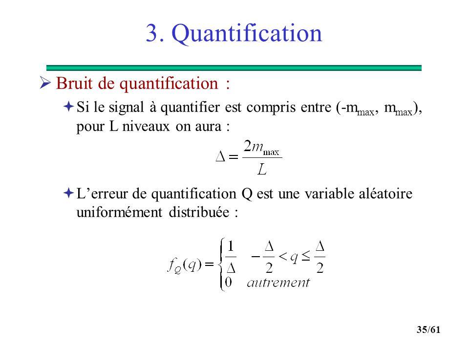 34/61 3. Quantification  Quantification uniforme :