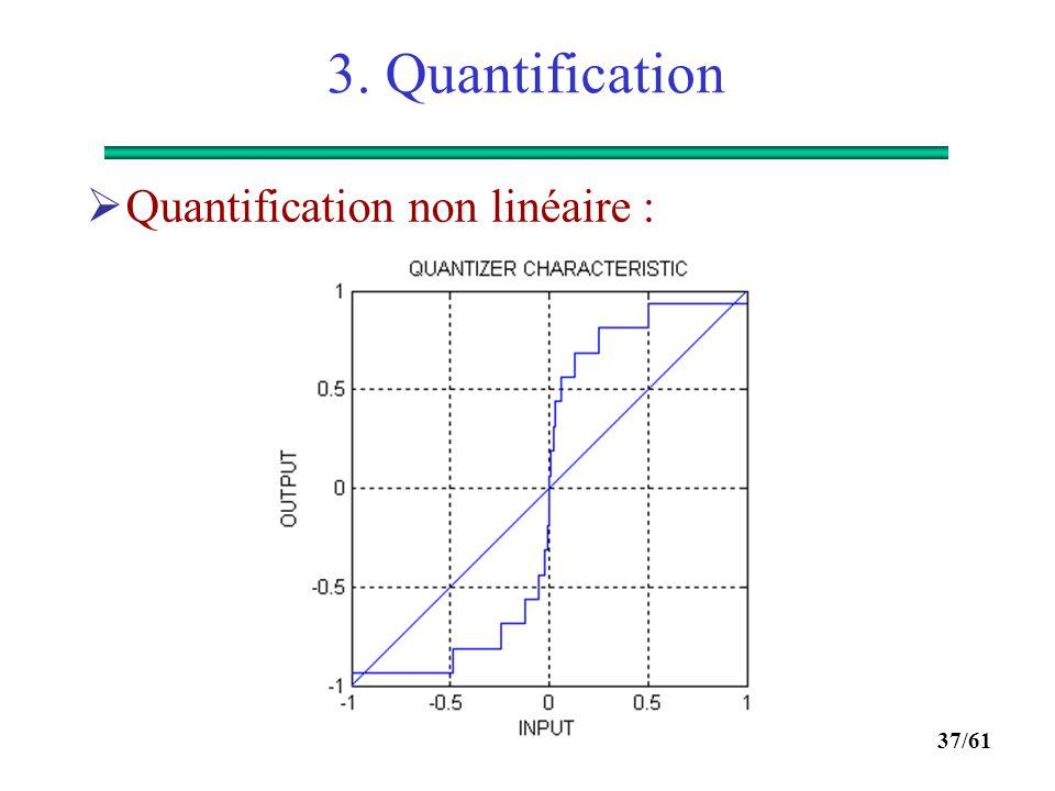 36/61 3. Quantification  La variance de l'erreur est égale à :  Comme L = 2 R, on obtient :  Finalement :  Exercice : calculer le SNR en dB si le