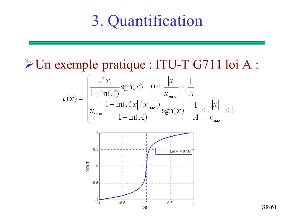 38/61 3. Quantification  Comparaison SNR = f(P in ) quantification uniforme et non linéaire loi A, A = 87.6 :