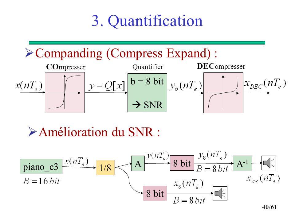 39/61 3. Quantification  Un exemple pratique : ITU-T G711 loi A :