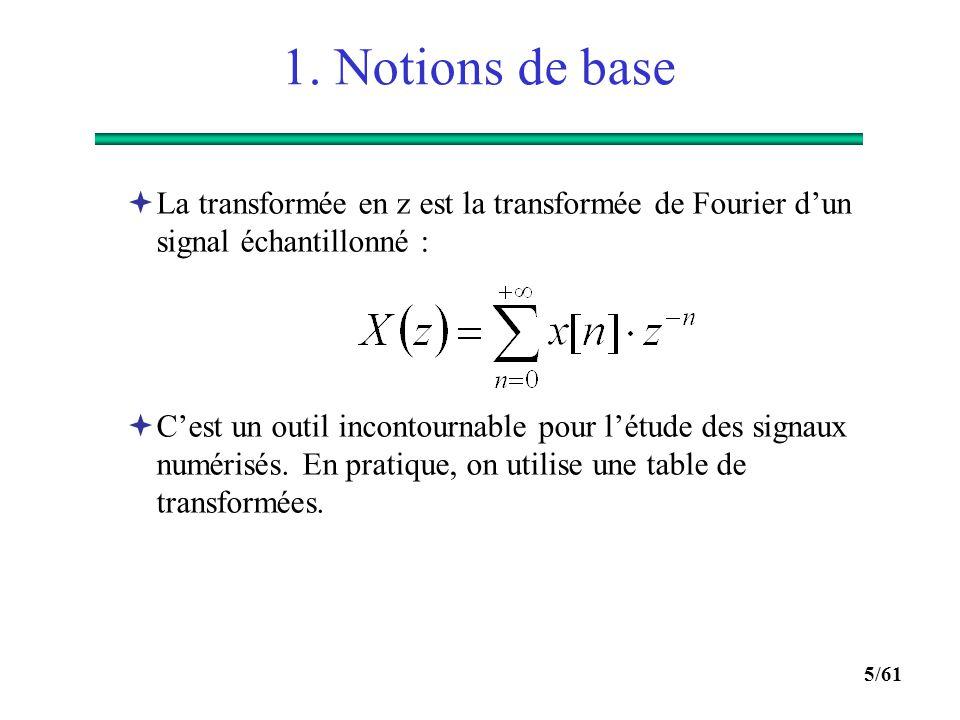 4/61 1. Notions de base  Description d'un système numérique :  Dans le domaine temporel par une équation aux différences, par exemple : y[n] = b 0 x