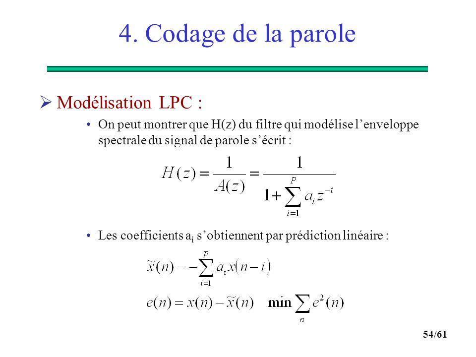 53/61 4. Codage de la parole  Modèle simplifié de production de la parole :