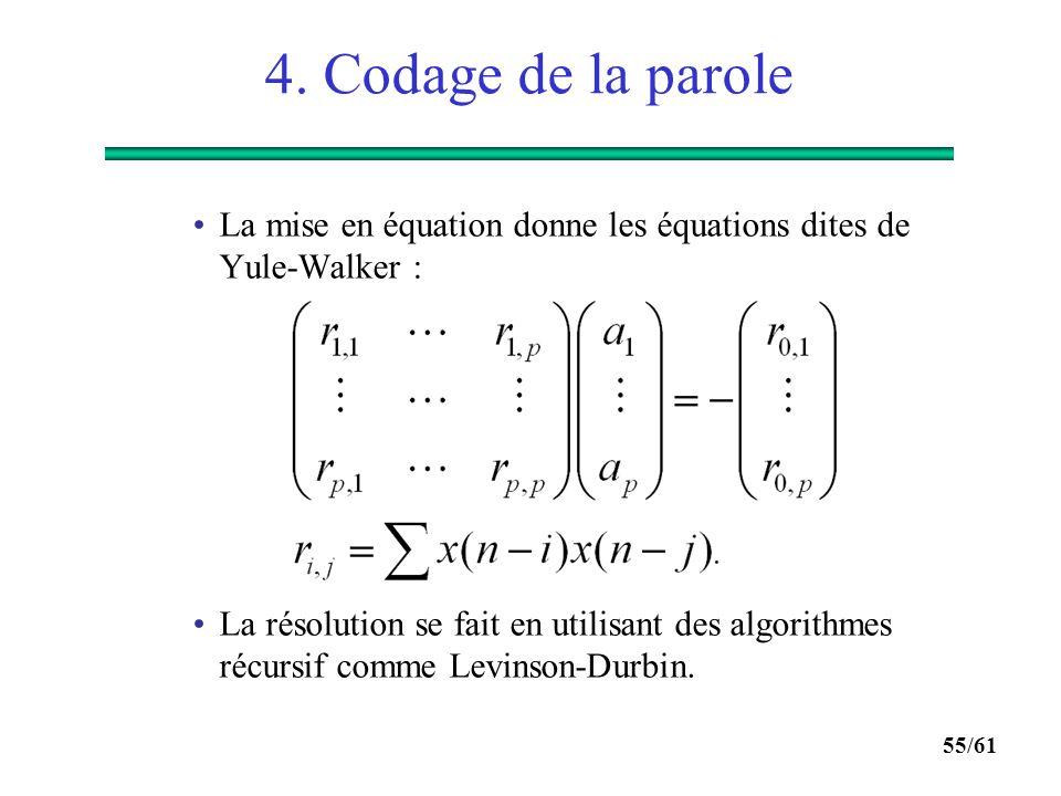 54/61 4. Codage de la parole  Modélisation LPC : On peut montrer que H(z) du filtre qui modélise l'enveloppe spectrale du signal de parole s'écrit :