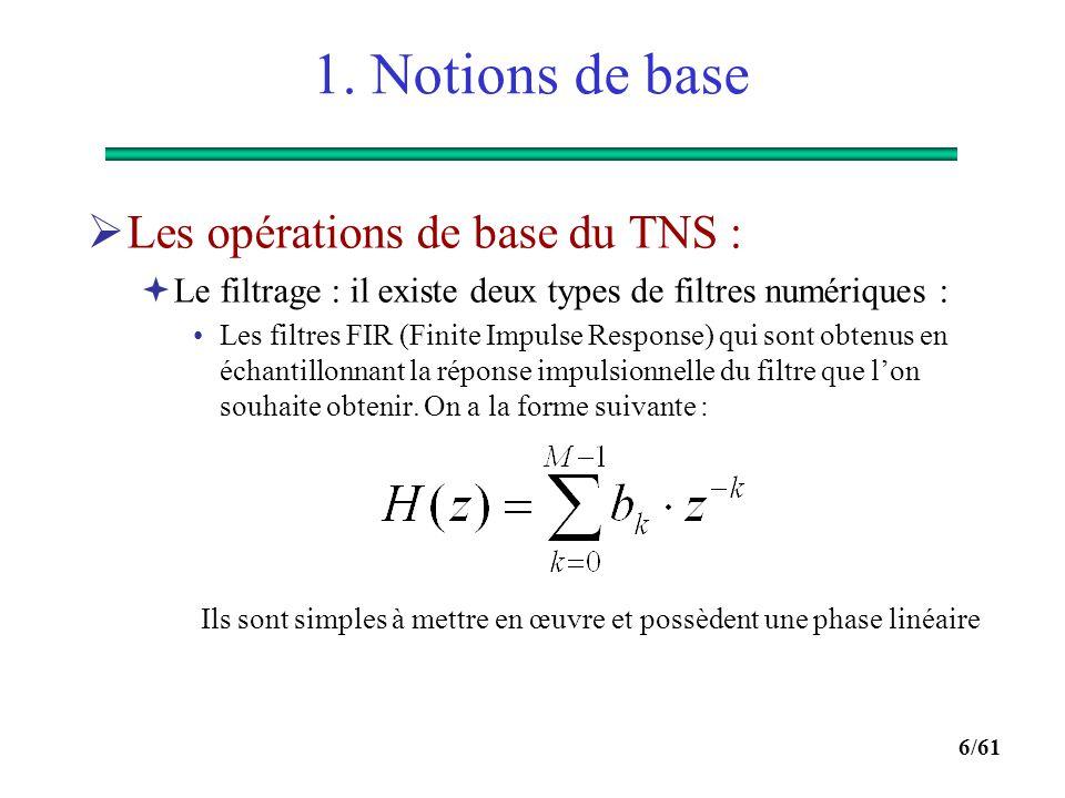 5/61 1. Notions de base  La transformée en z est la transformée de Fourier d'un signal échantillonné :  C'est un outil incontournable pour l'étude d