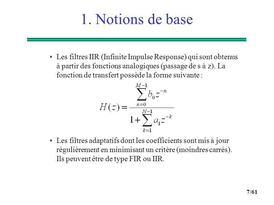 6/61 1. Notions de base  Les opérations de base du TNS :  Le filtrage : il existe deux types de filtres numériques : Les filtres FIR (Finite Impulse