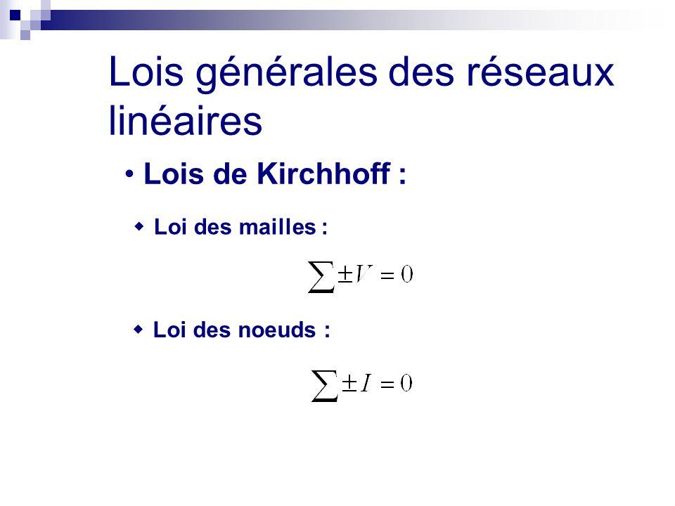Lois générales des réseaux linéaires Lois de Kirchhoff :  Loi des mailles :  Loi des noeuds :