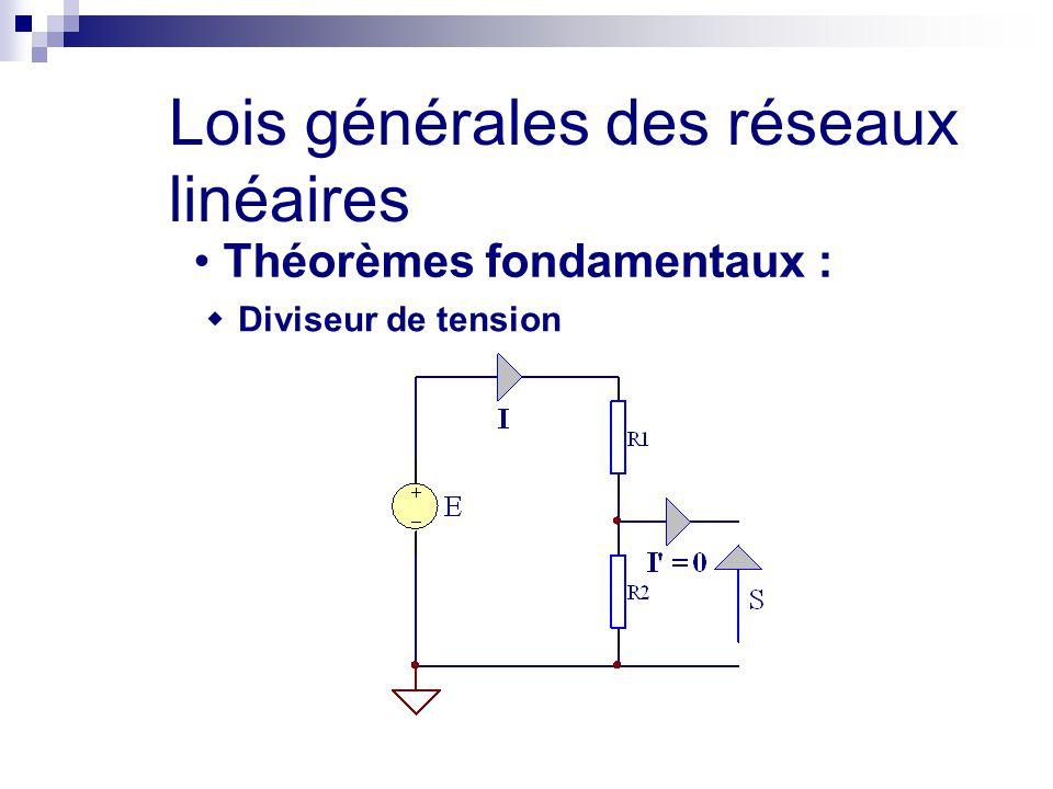Lois générales des réseaux linéaires Théorèmes fondamentaux :  Diviseur de tension