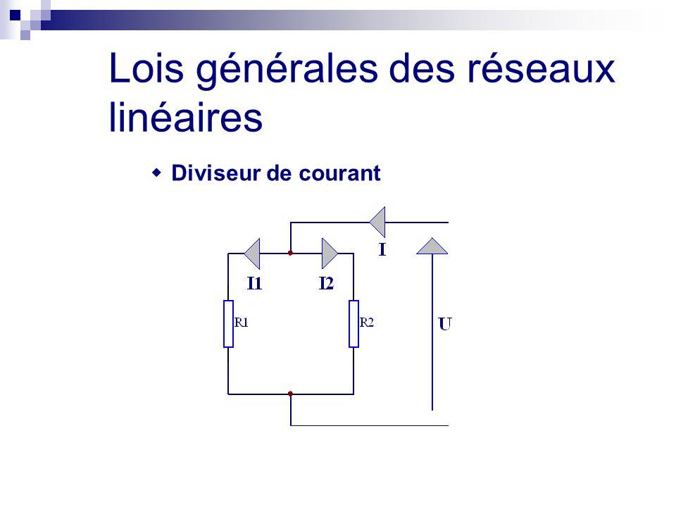 Lois générales des réseaux linéaires  Diviseur de courant