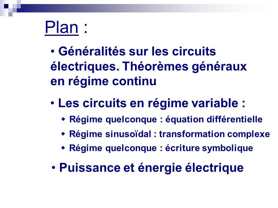 Plan : Généralités sur les circuits électriques. Théorèmes généraux en régime continu Les circuits en régime variable :  Régime quelconque : équation
