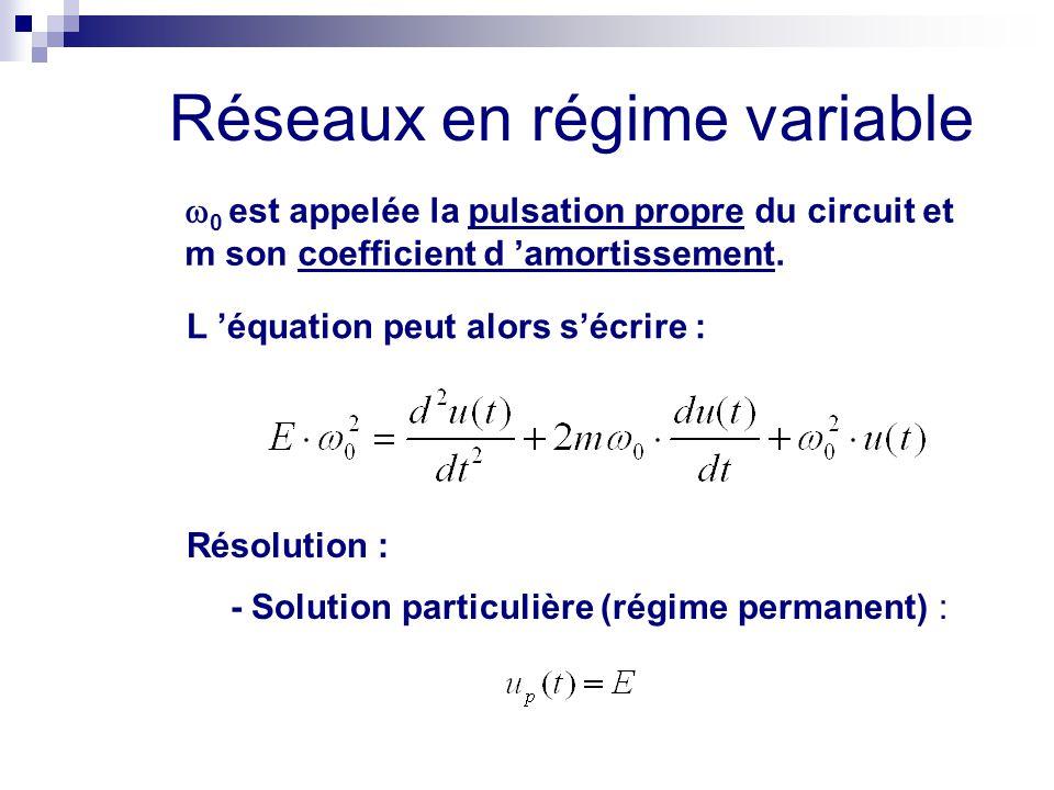 Réseaux en régime variable  0 est appelée la pulsation propre du circuit et m son coefficient d 'amortissement. L 'équation peut alors s'écrire : Rés