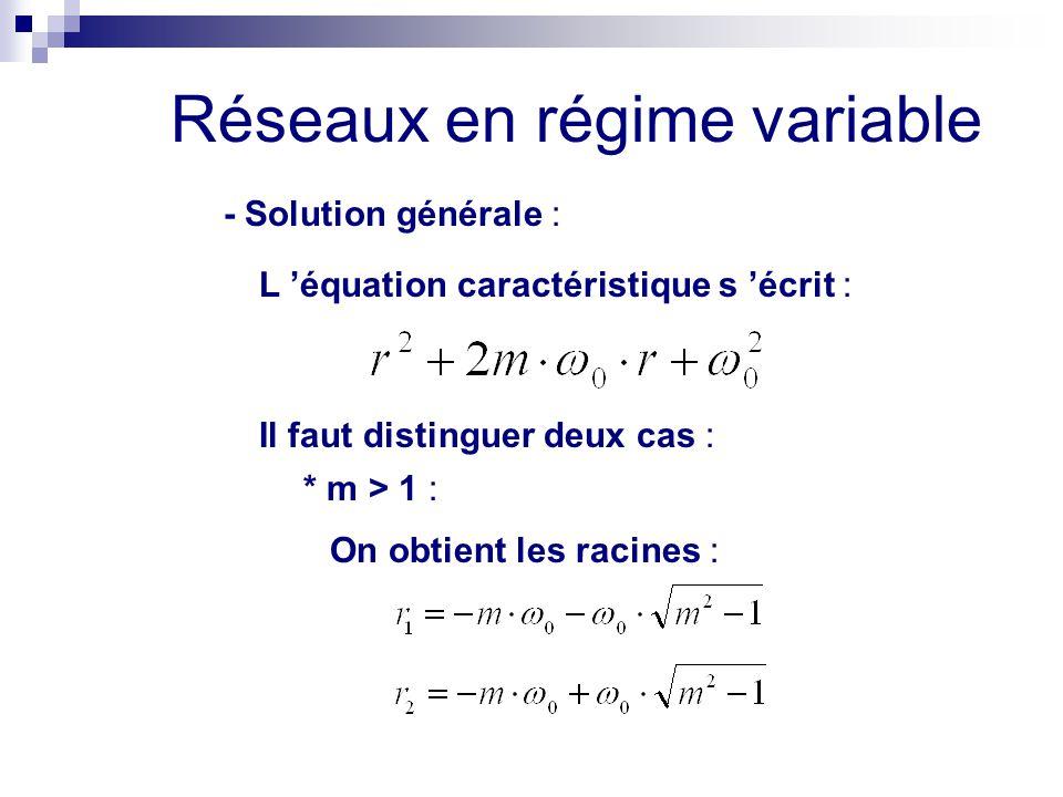 Réseaux en régime variable - Solution générale : L 'équation caractéristique s 'écrit : Il faut distinguer deux cas : * m > 1 : On obtient les racines