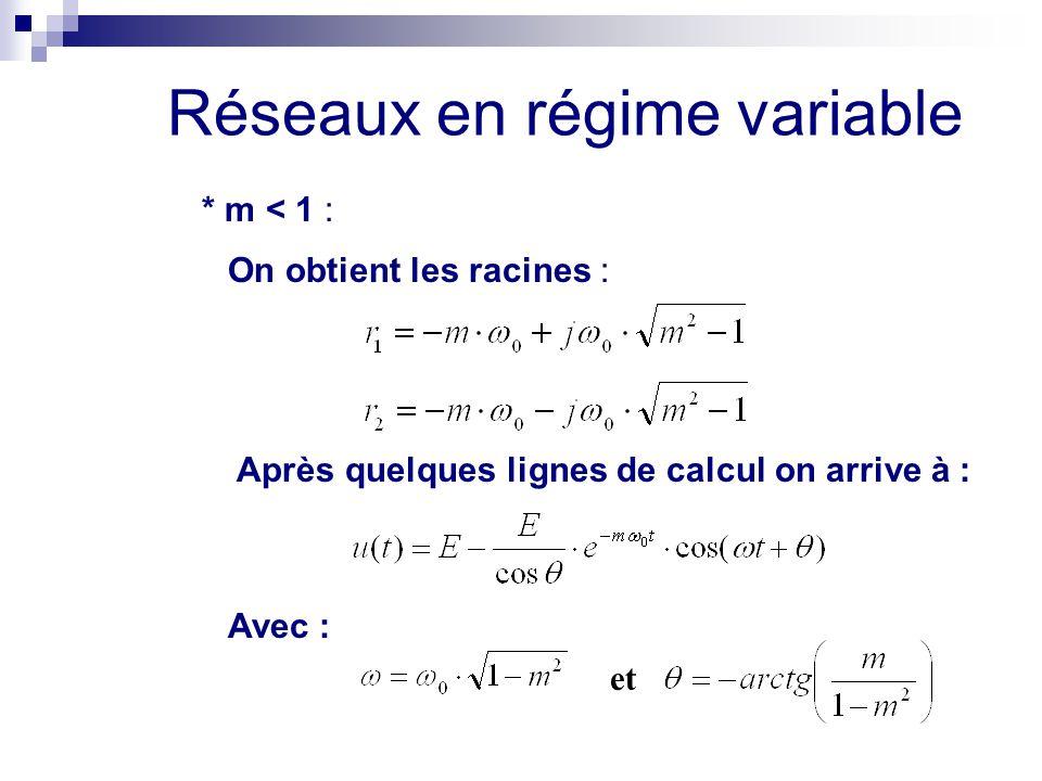 * m < 1 : On obtient les racines : Après quelques lignes de calcul on arrive à : Avec : et