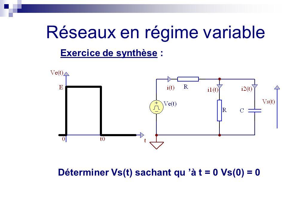Réseaux en régime variable Exercice de synthèse : Déterminer Vs(t) sachant qu 'à t = 0 Vs(0) = 0