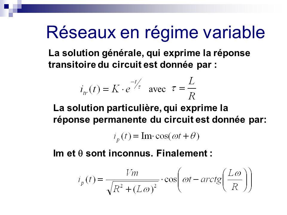 Réseaux en régime variable La solution générale, qui exprime la réponse transitoire du circuit est donnée par : avec La solution particulière, qui exp