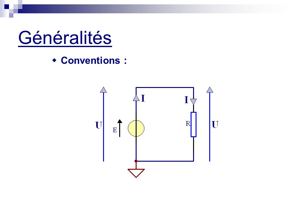 Généralités  Notion de caractéristique courant-tension :