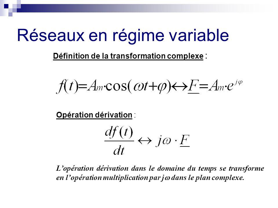 Réseaux en régime variable Définition de la transformation complexe : Opération dérivation : L'opération dérivation dans le domaine du temps se transf