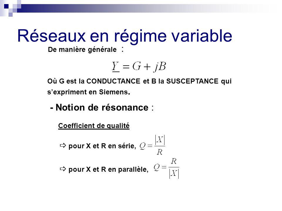 Réseaux en régime variable De manière générale : Où G est la CONDUCTANCE et B la SUSCEPTANCE qui s'expriment en Siemens. - Notion de résonance : Coeff