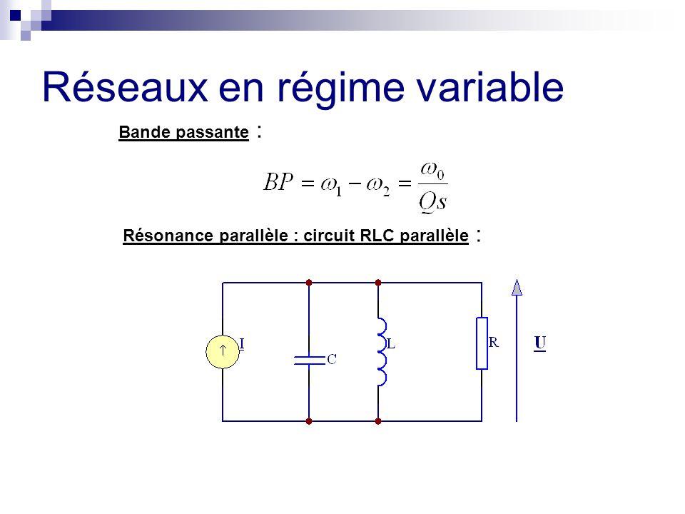 Réseaux en régime variable Bande passante : Résonance parallèle : circuit RLC parallèle :