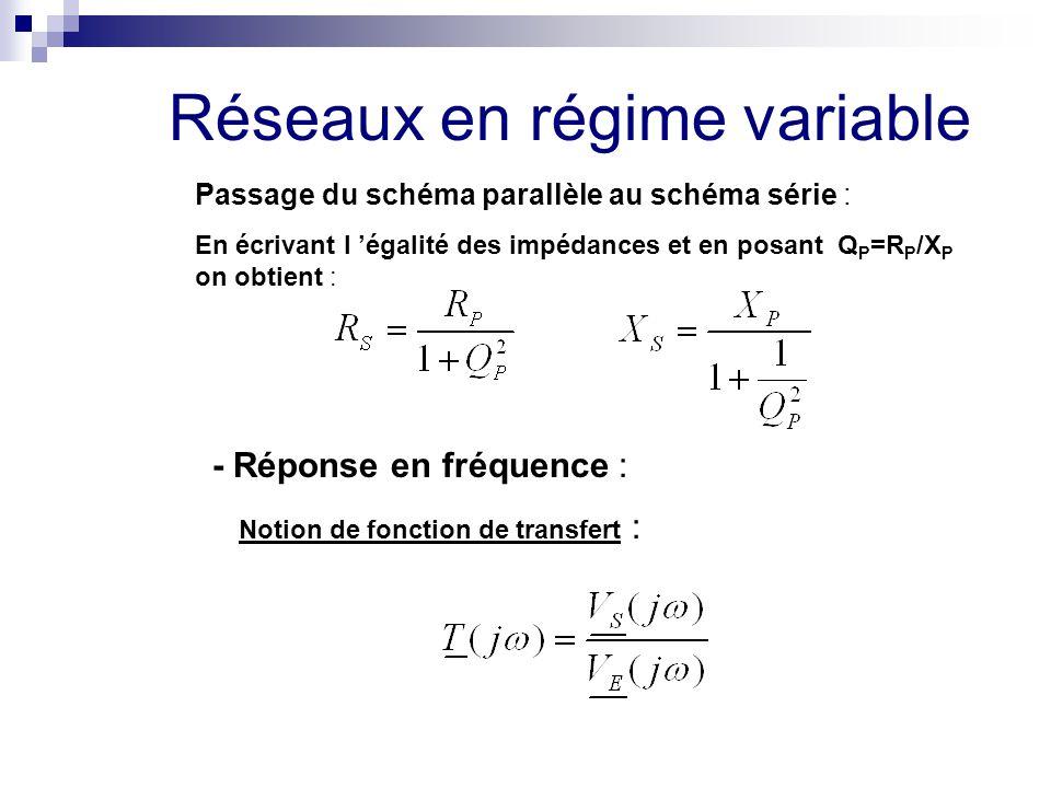Passage du schéma parallèle au schéma série : En écrivant l 'égalité des impédances et en posant Q P =R P /X P on obtient : Réseaux en régime variable