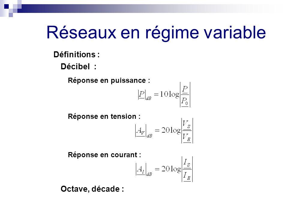 Réseaux en régime variable Définitions : Décibel : Réponse en puissance : Réponse en tension : Réponse en courant : Octave, décade :
