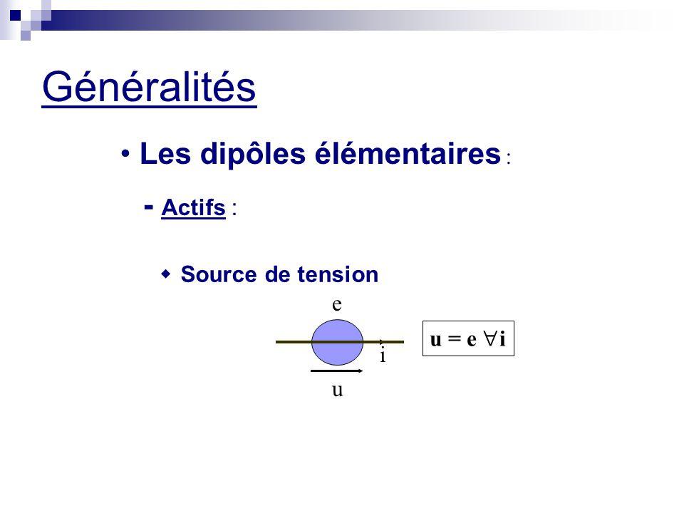 Généralités Les dipôles élémentaires : u i e u = e  i  Source de tension - Actifs :