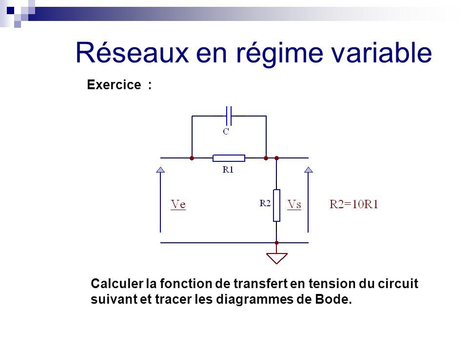 Réseaux en régime variable Exercice : Calculer la fonction de transfert en tension du circuit suivant et tracer les diagrammes de Bode.