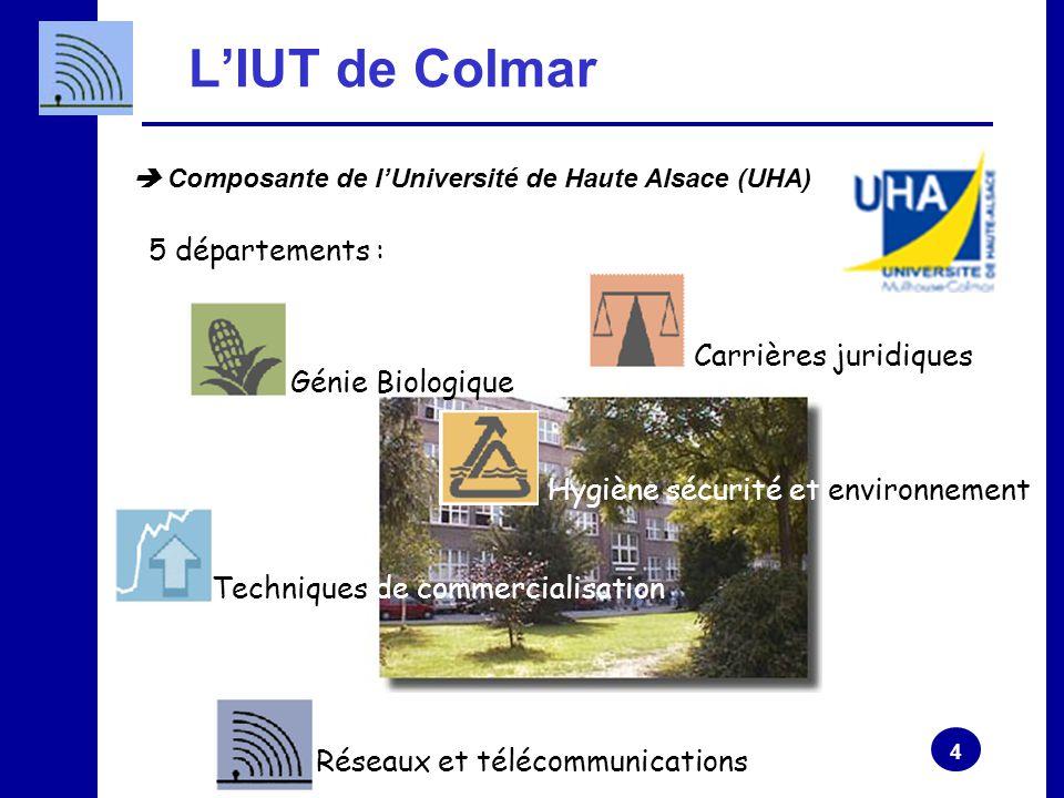 4 L'IUT de Colmar Hygiène sécurité et environnement 5 départements : Génie Biologique Carrières juridiques Techniques de commercialisation Réseaux et