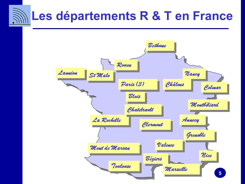 5 Les départements R & T en France Mont de Marsan Blois Paris (3) Nancy Montbéliard Colmar Béziers Nice Marseille Annecy Bethune Grenoble Toulouse St