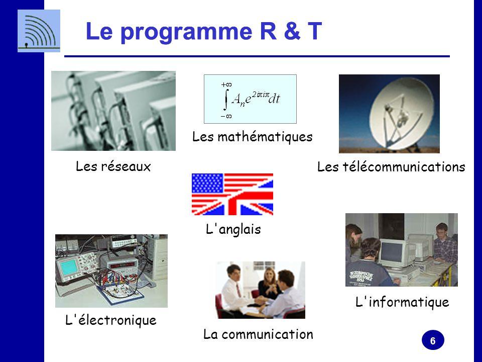 6 Le programme R & T Les réseaux L'électronique L'informatique Les mathématiques L'anglais La communication Les télécommunications Le programme R & T