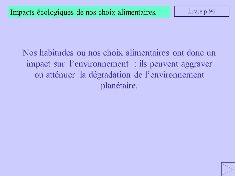 Impacts écologiques de nos choix alimentaires. Livre p.96 Nos habitudes ou nos choix alimentaires ont donc un impact sur l'environnement : ils peuvent